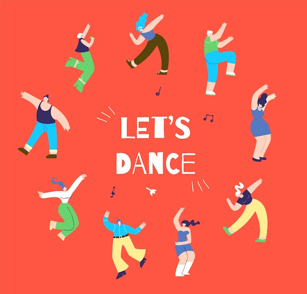 Dancing disco man woman action oriented banner Premium Vector