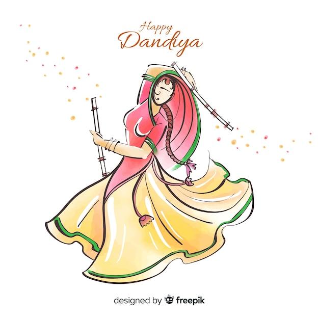 Dandiya-danser Gratis Vector