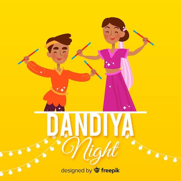 Dandiya nacht achtergrond Gratis Vector