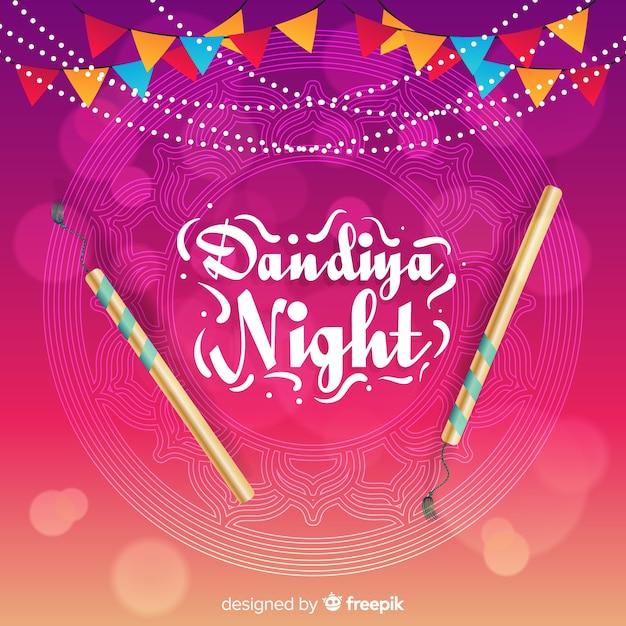 Dandiya-nacht met stokken Gratis Vector