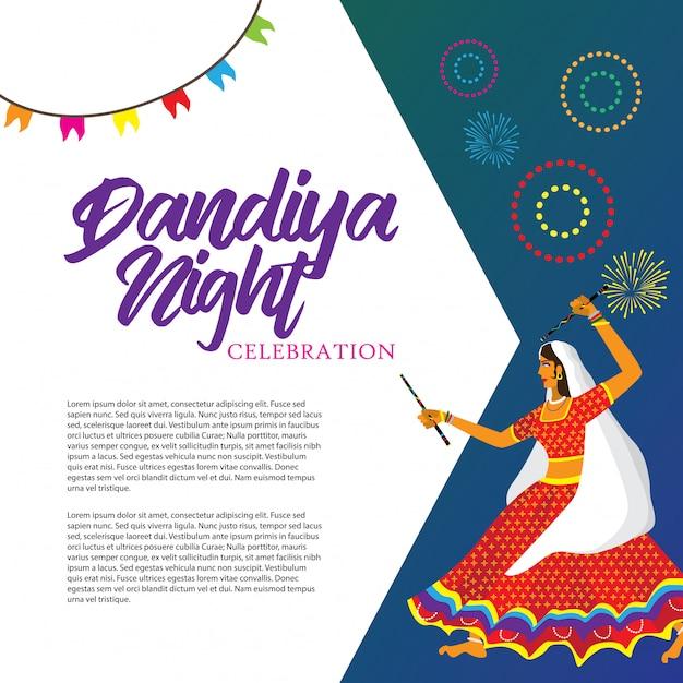 Dandiya nachtviering vectorillustratie Premium Vector