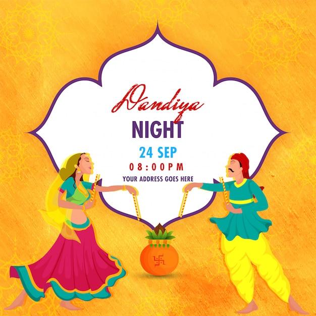 Dandiya night-feest. Premium Vector