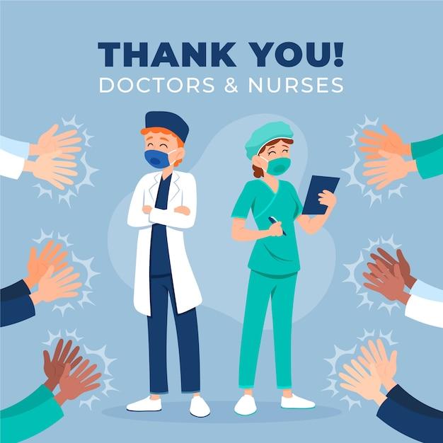 Dank je wel dokters en verpleegsters stijl Gratis Vector