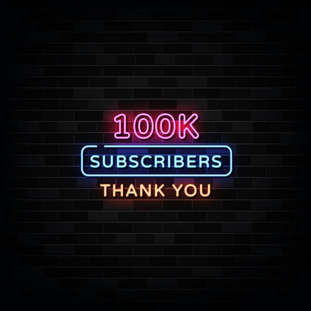 Dank u 100.000 abonnees neon signs vector. ontwerpsjabloon neon stijl Premium Vector