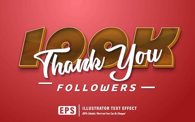 Dank u 100k teksteffect - bewerkbaar Premium Vector