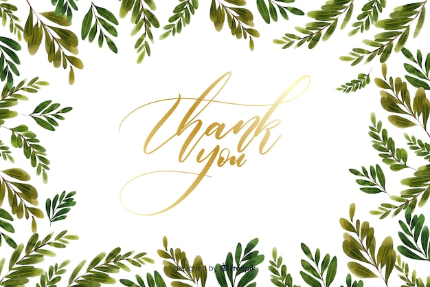 Dank u achtergrond met florale decoratie Gratis Vector