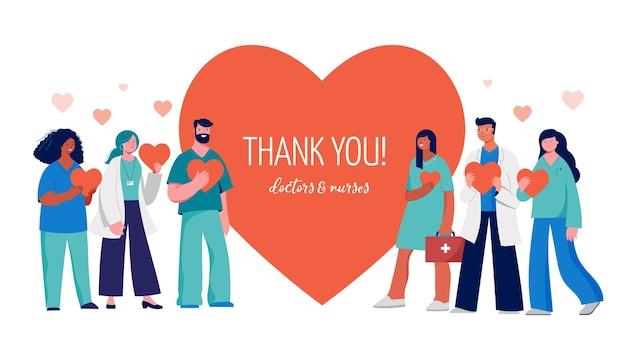 Dank u artsen en verpleegkundigen conceptontwerp - medisch personeel op een rood hart. vector illustratie Premium Vector