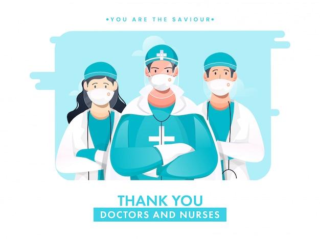Dank u artsen en verpleegsters zijn de onze verlosser om te vechten tegen coronavirus. Premium Vector