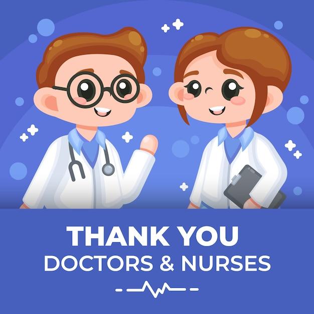 Dank u artsen en verpleegstersillustratie Gratis Vector