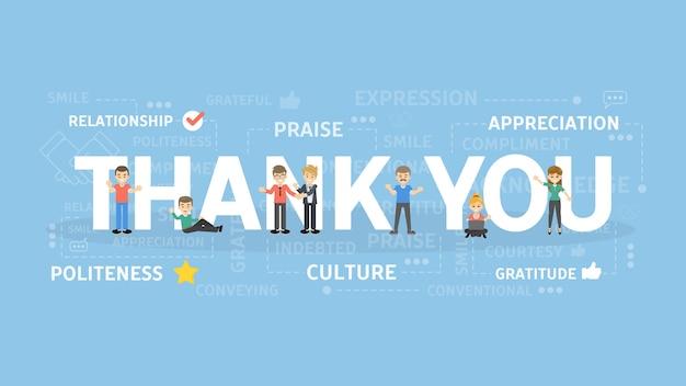 Dank u concept illustratie. idee van dankbaarheid en waardering. Premium Vector
