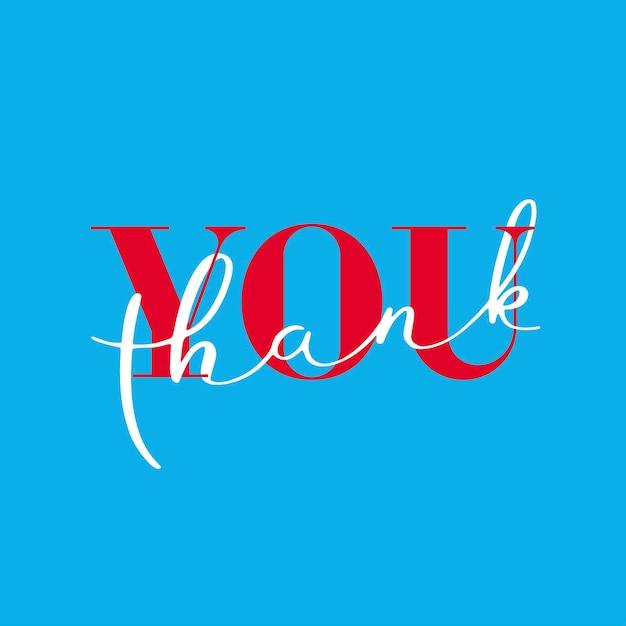 Dank u, dank u belettering op blauwe achtergrond. Premium Vector