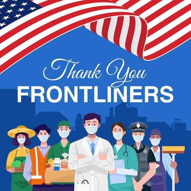 Dank u frontliners. verschillende beroepen mensen staan met amerikaanse vlag. vector Premium Vector