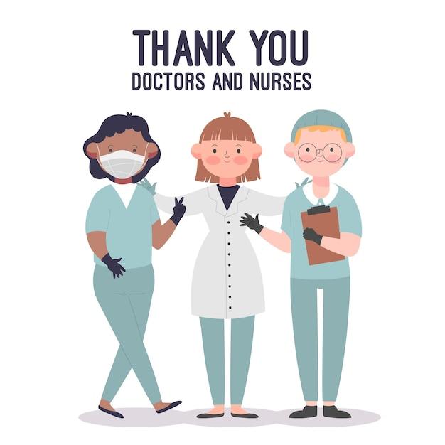 Dank u geïllustreerde artsen en verpleegsters Gratis Vector