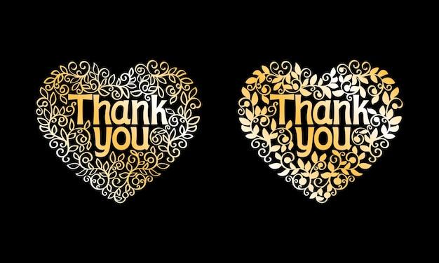 Dank u gouden vector decoratieve label geïsoleerd Gratis Vector