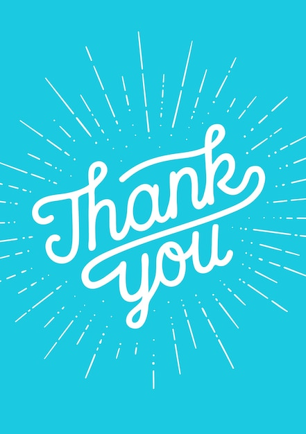 Dank u, hand belettering dank u met sunburst vintage krijt afbeelding op zwarte schoolbord achtergrond. Premium Vector