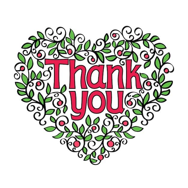Dank u hand belettering kalligrafie in vorm van hart vectorillustratie Gratis Vector