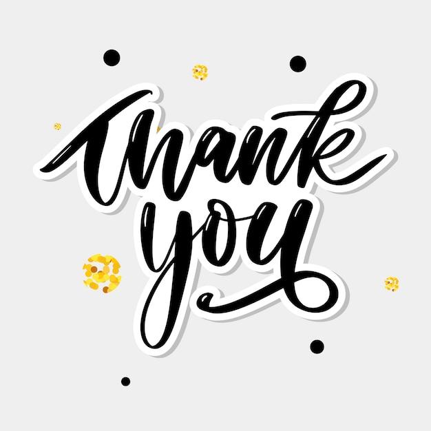 Dank u handgeschreven inscriptie. hand getekende letters. dank u kalligrafie. bedankt kaart. illustratie. slogan Premium Vector
