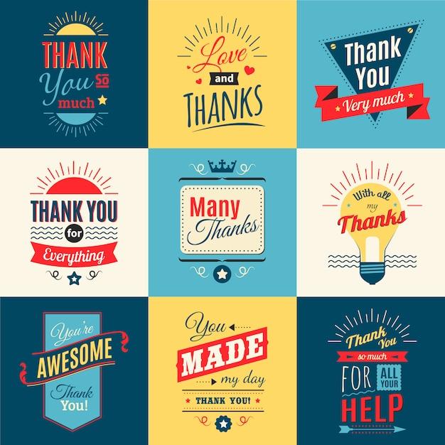 Dank u van letters voorzien reeks met liefde en dankbaarheid in retro stijl geïsoleerde vectorillustratie Gratis Vector