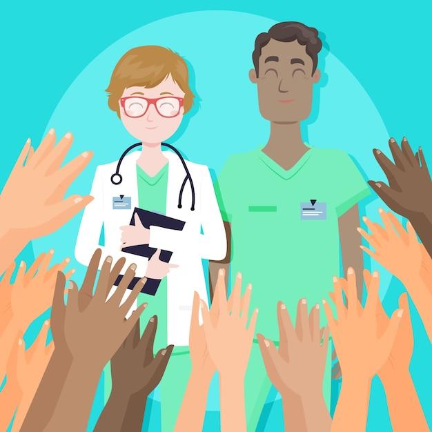 Dank u verpleegsters en artsontwerp Gratis Vector