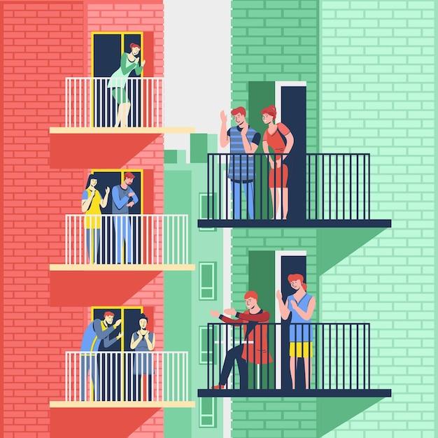 Dankbare mensen die samen op hun balkons klappen Gratis Vector