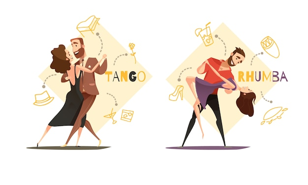 Dansen tango en rhumba paren 2 retro cartoon sjablonen met web stijl accessoires pictogrammen geïsoleerd Gratis Vector