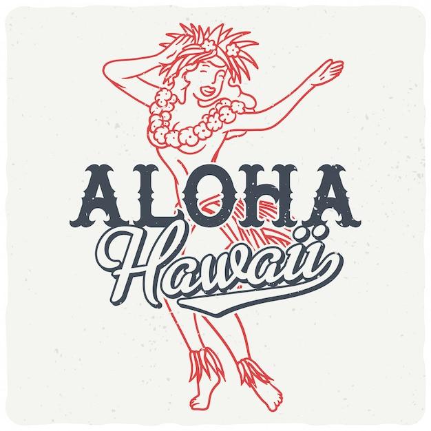 Dansend hawaiiaans meisje Premium Vector