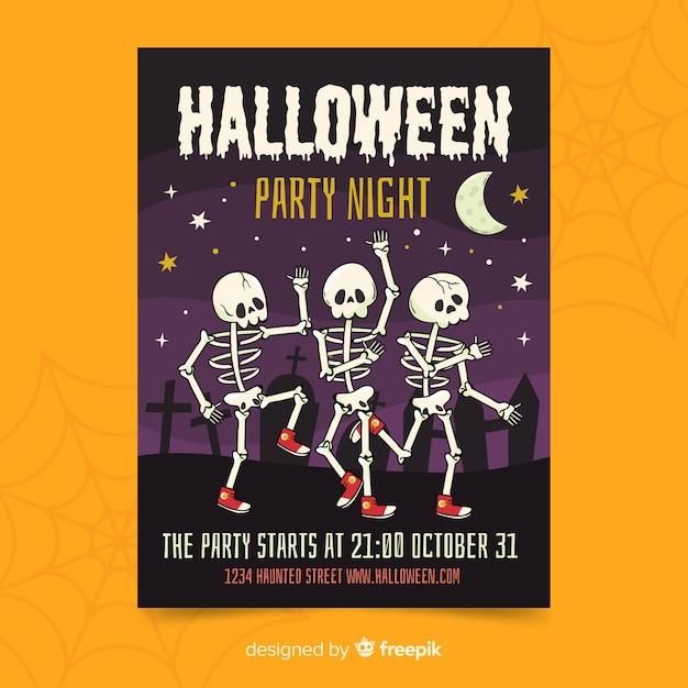 Dansend skelet halloween partij poster Gratis Vector