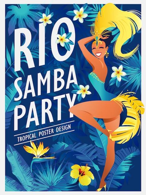 Dansende de samba mooie braziliaan van het meisje in feestelijk kostuum Premium Vector