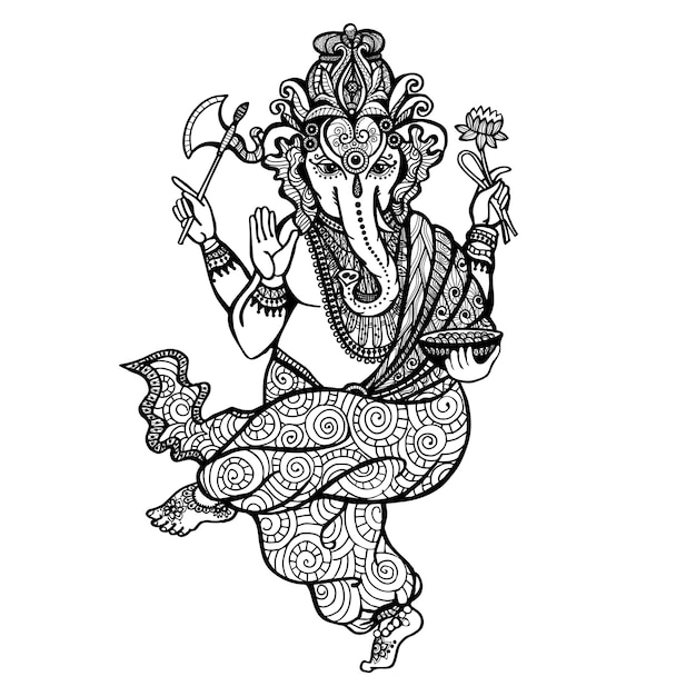Dansende ganesha-pictogram Gratis Vector