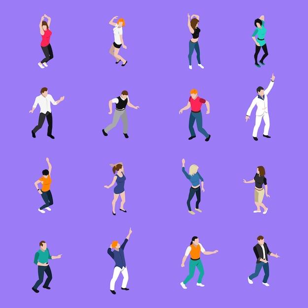 Dansende mensen bewegingen isometrische pictogrammen collectie Gratis Vector