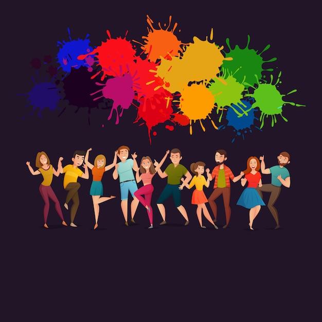 Dansende mensen feestelijke kleurrijke poster Gratis Vector