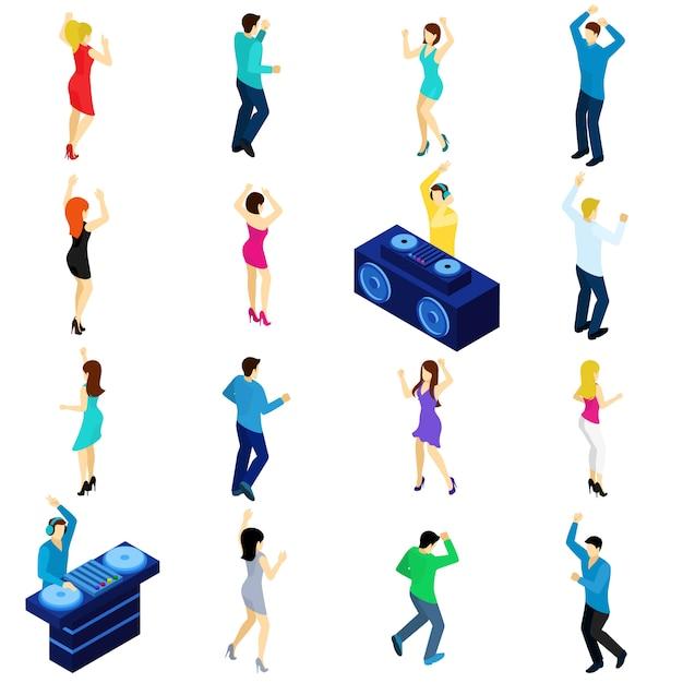 Dansende mensen isometrisch Gratis Vector
