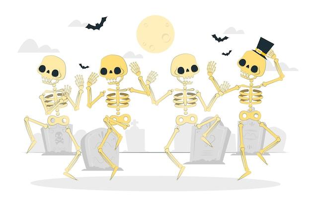 Dansende skeletten concept illustratie Gratis Vector