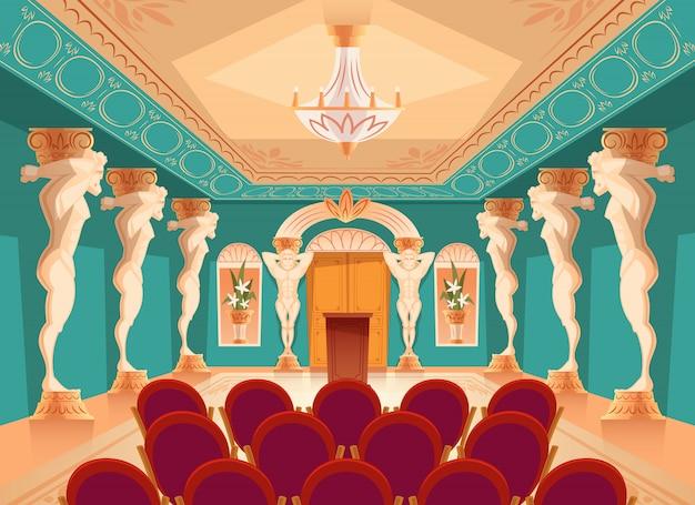 Danszaal met atlaszuilen en fauteuils voor publiek, toeschouwers. Gratis Vector