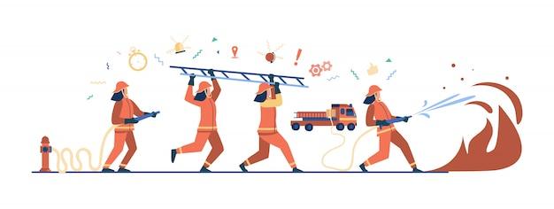 Dappere brandweerlieden met uniform en brandbestrijding met helmen Gratis Vector