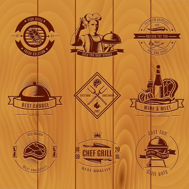 Dark bbq vintage logo set verschillende maten en titels Gratis Vector