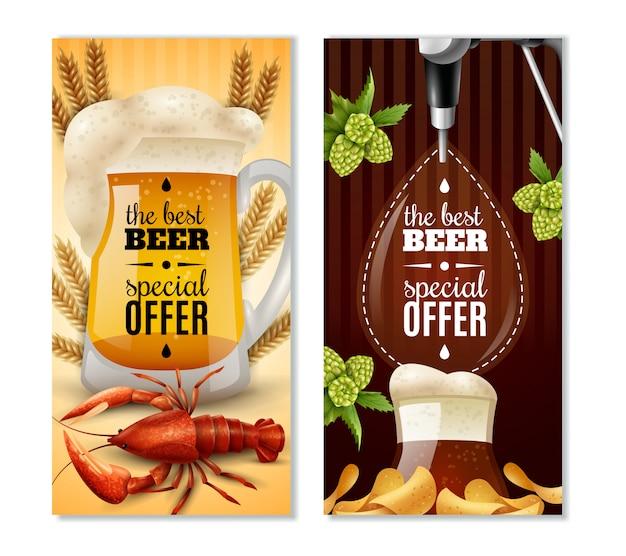 Dark light beer 2 verticale bannersenset Gratis Vector