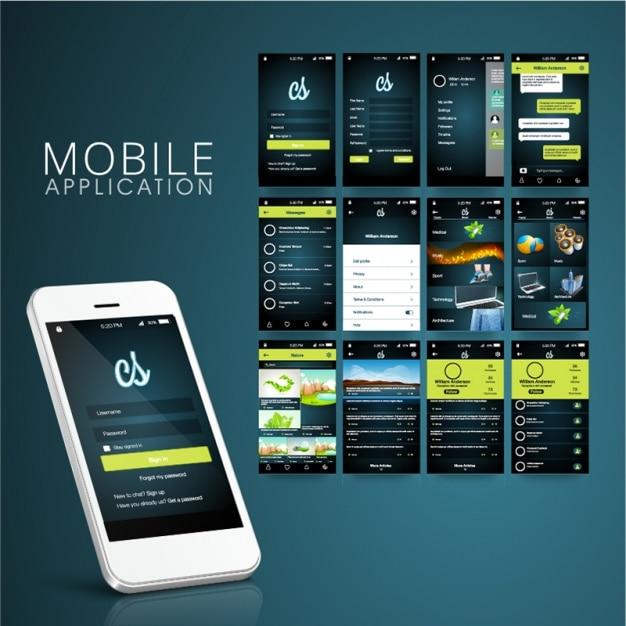 Dark mobiele app met groene informatie Premium Vector