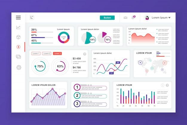 Dashboard admin-paneelsjabloon met infographic elementen Premium Vector
