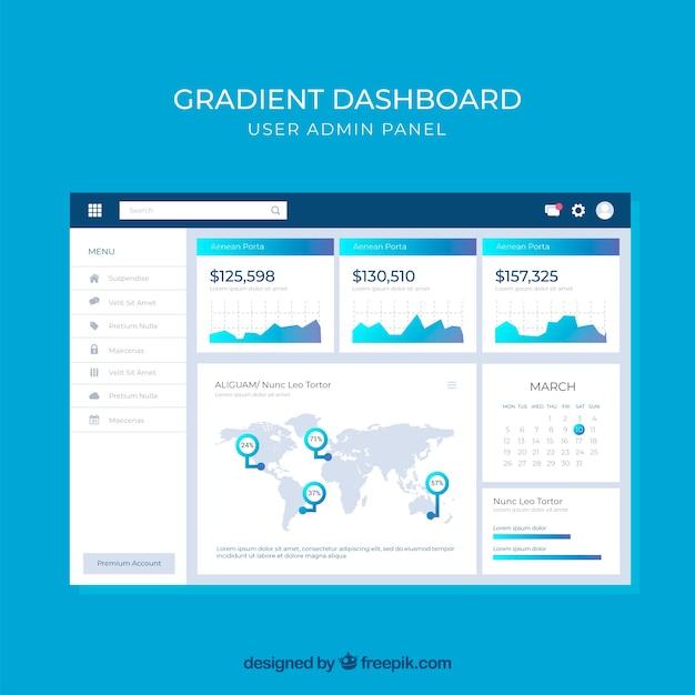 Dashboard-beheerdersvenster met verloopstijl Gratis Vector