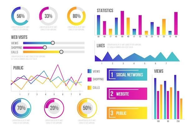 Dashboard element collectie infographic Gratis Vector