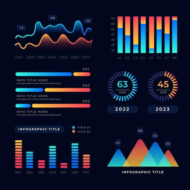 Dashboard element grafiekverzameling Gratis Vector