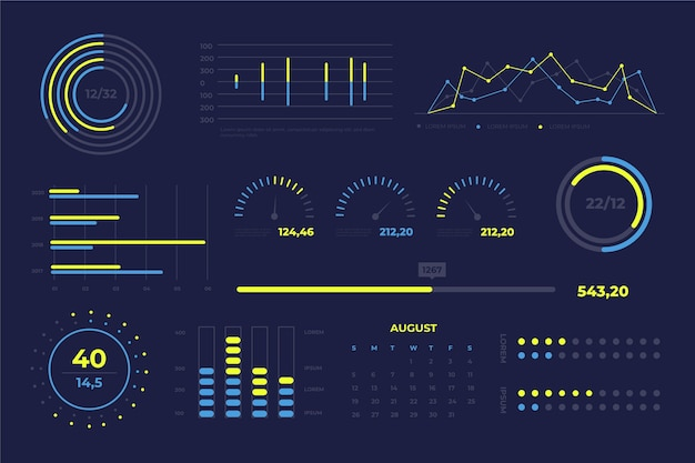 Dashboard-elementenverzameling Gratis Vector