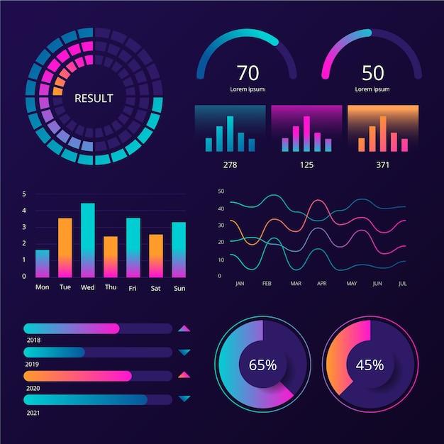 Dashboard infographic sjabloon element set Gratis Vector