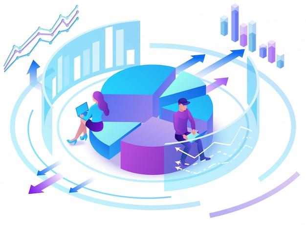 Data-analysecentrum, mensen uit het bedrijfsleven 3d isometrisch Premium Vector