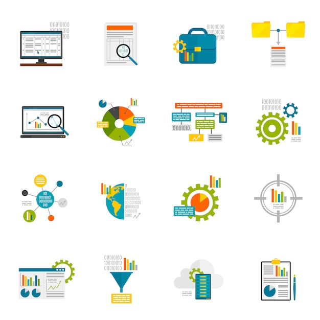Data analytics vlakke pictogrammen Gratis Vector