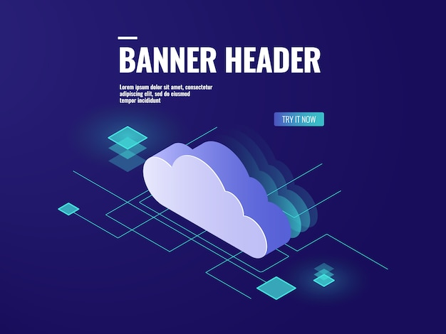 Data cloud storage-technologie isometrisch pictogram, serverruimte, database en datacenter Gratis Vector
