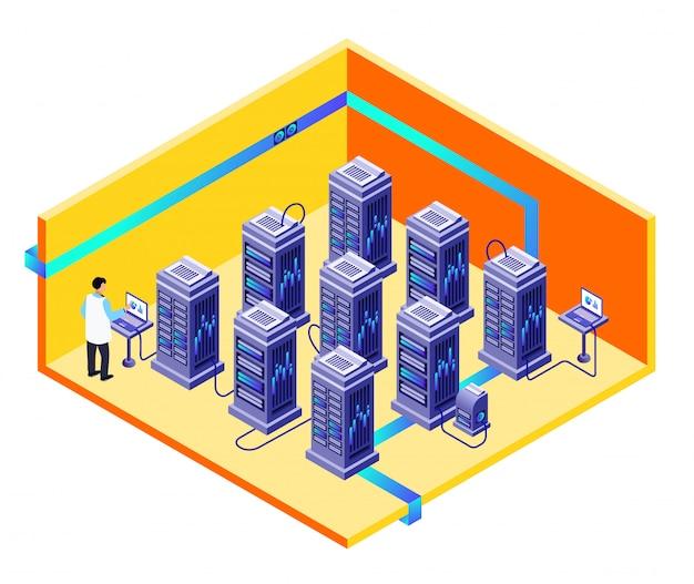Data opslag center doorsnede concept met it-specialist man die hardware levert Gratis Vector