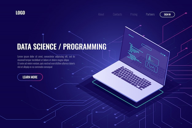 Data science and programming Gratis Vector