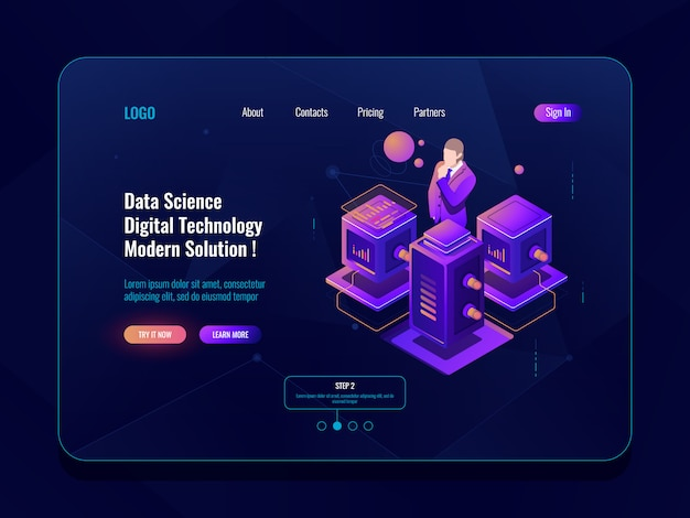 Data science, big data processing, serverruimte, database en datacenterconcept Gratis Vector